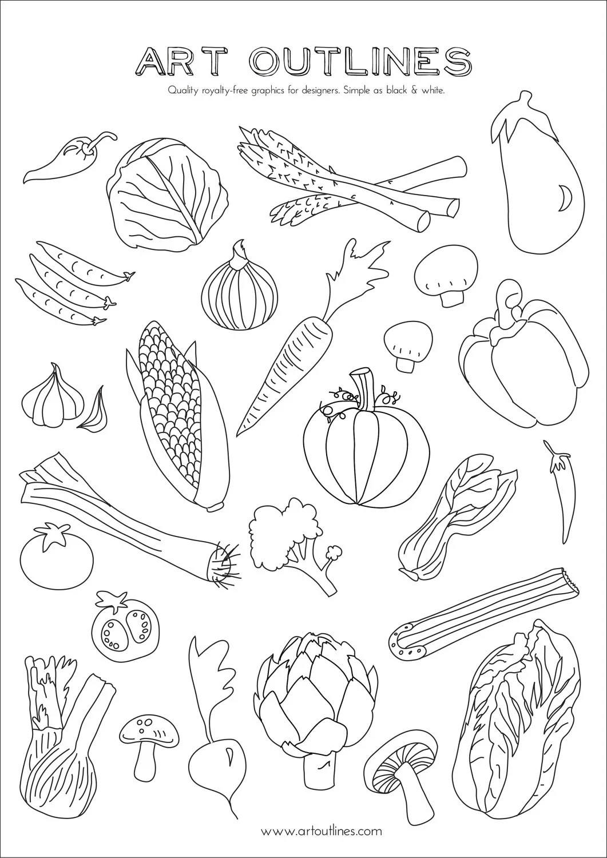 Set Of Vegetables Art Outlines Full Page 29 Original Hand