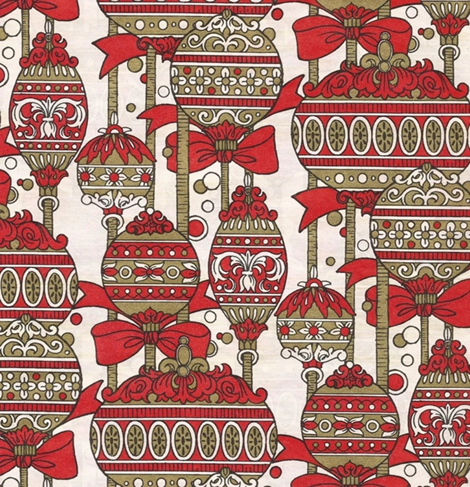 Vintage Wrapping Paper Christmas Ornament Art Nouveau Red Xmas