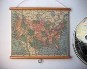 "Vintage ""Pull Down"" School Map Wall Hanging Print on Fabric with Stained Wood Trim - United States - GrittyCityGoods"