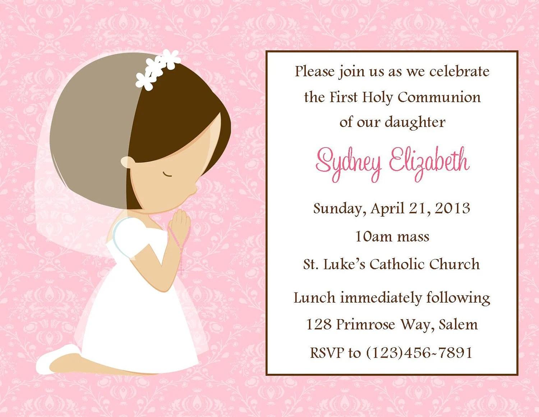 First Communion Invitation Girl Digital File 1st