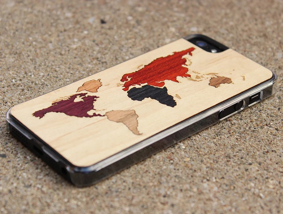 World Map Inlay iPhone 5 Clear Case with Black Trim - On Sale - FREE Shipping
