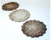 "Cappuccino Crochet Coasters by GerberaHandmade - handmade doilies colormix Set of 6 - beige ecru colormix - cotton 4.3"" READY TO SHIP - GerberaHandmade"
