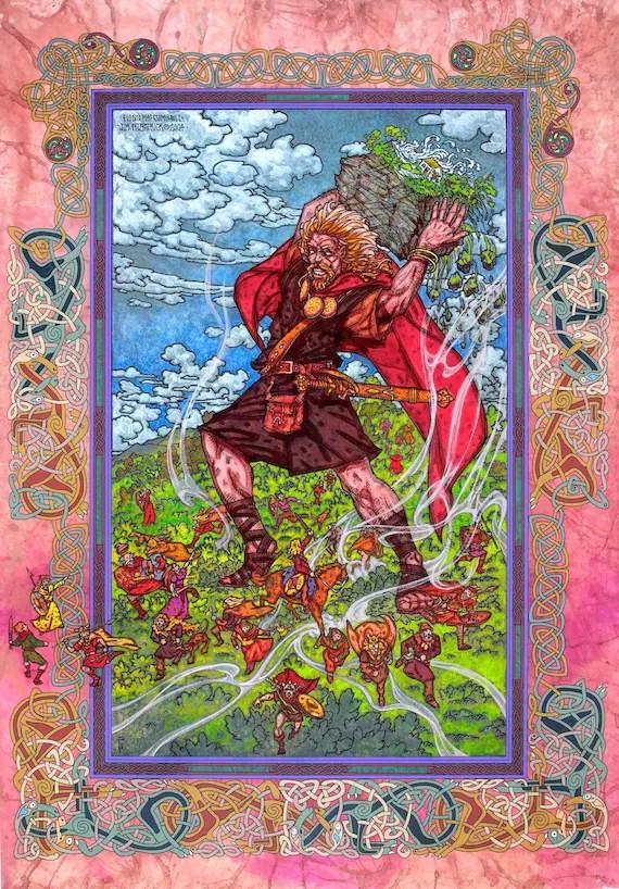 Celtic Art Print Fionn Mac Cumhaill (Finn MacCool) Signed and numbered Limited Edition Print 33x23. Irish Art, Celtic, Legend, Mythology.