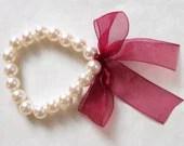 Pearl bracelet with maroon organza ribbon - bridal bracelet - bridesmaid bracelet - wedding - asteriasbridal