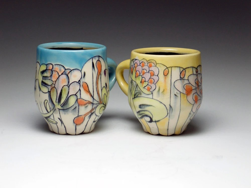 Tall Blue Teacup with Floral Decoration in Orange, Green and Purple