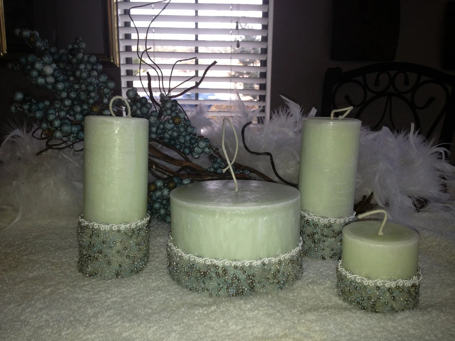 Set of 4 Pale Green with Beads Scented Hand Made Candles Gift Wrapped - CandlesByDottie