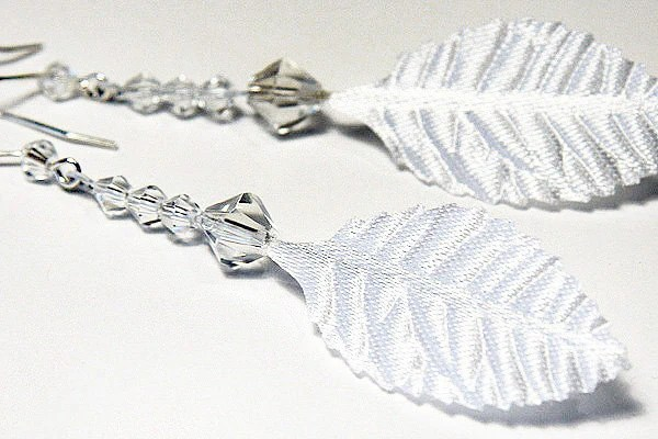 White Silk Feather Earrings . Fabric Leaf. Clear Crystal. Sterling Silver. Summer Fashion. White Wedding. Bridesmaids Gift