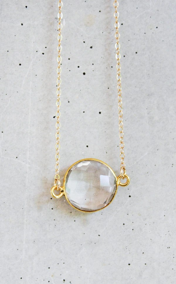 Crystal Coin 14k Gold Filled Necklace