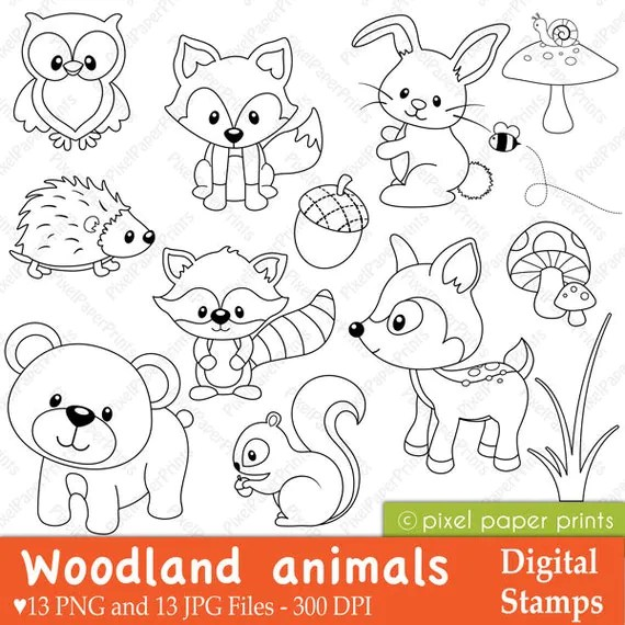 woodland animals digital stamps clipart  etsy