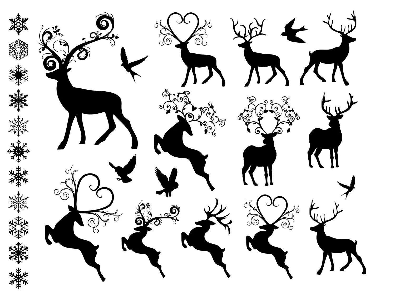 Fancy Reindeer Clip Art Digital Collage Printable 28 Holiday