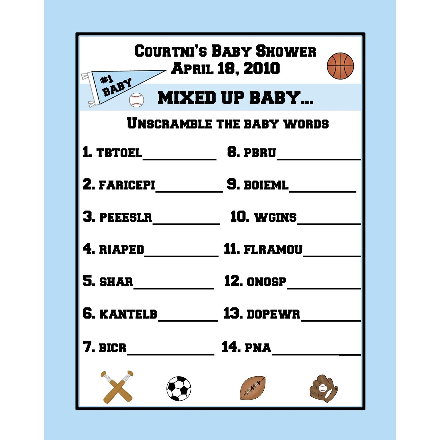 24 Personalized Word Scramble Baby Shower Game Cards