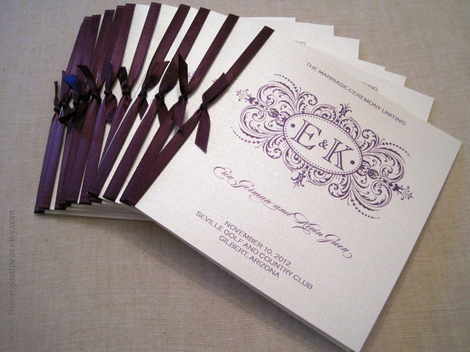 Square Wedding Programs With Satin Ribbon By Theoriginalpear