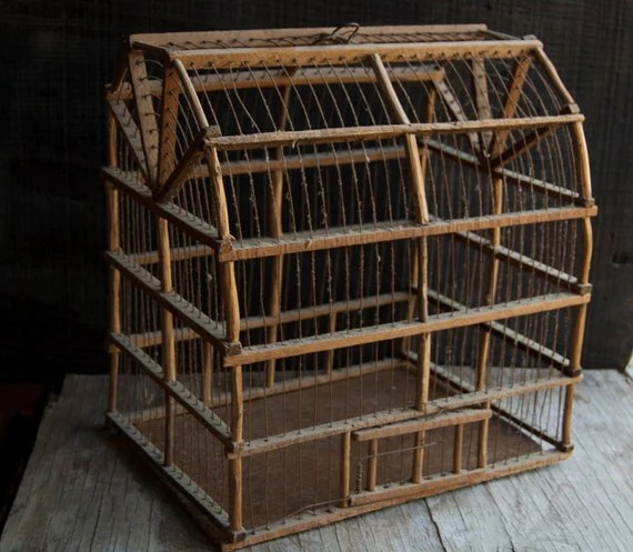 Wooden And Wire Bird Cage Rustic Vintage Birdcage