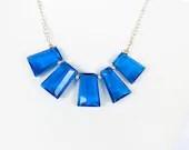 Chunky Dark Blue Glass Statement Necklace - Shapphire Blue Glass Slab Necklace - WildflowersAndGrace