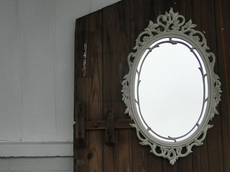 Large Ornate Oval Framed Mirror Hollywood Regency Vintage