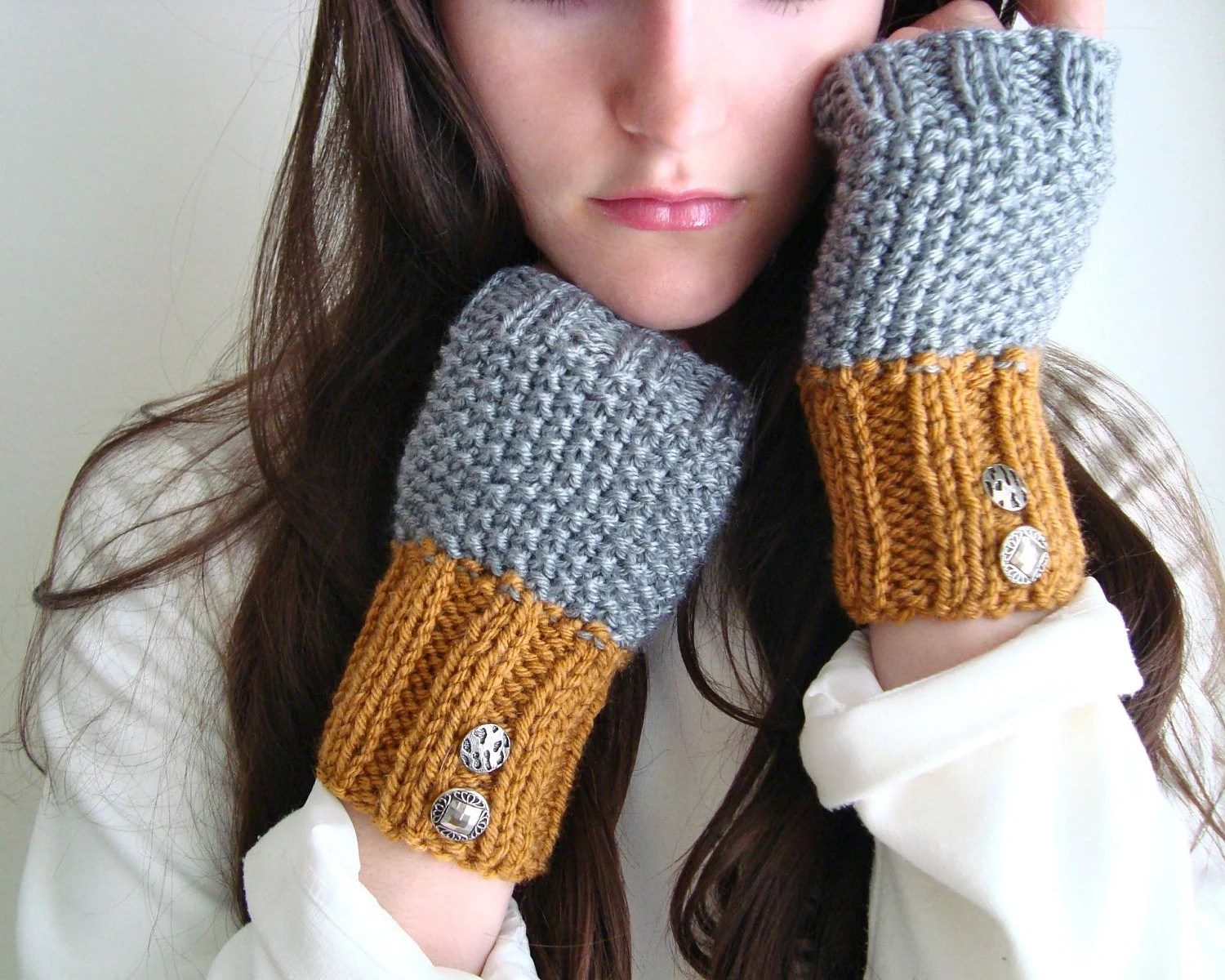 Silver & Gold Autumn Mittens Fingerless Gloves, Vintage Buttons, Grey and Butterscotch - KnittingWonders