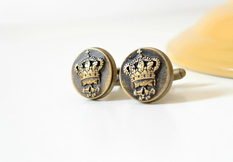 King skull cufflinks, bronze cuff links, mens accessories, groom mens jewelry - colortreasures