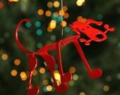 Red Puppy Dog Christmas Tree Ornament Bone Dog - EarthStudioMetalArt