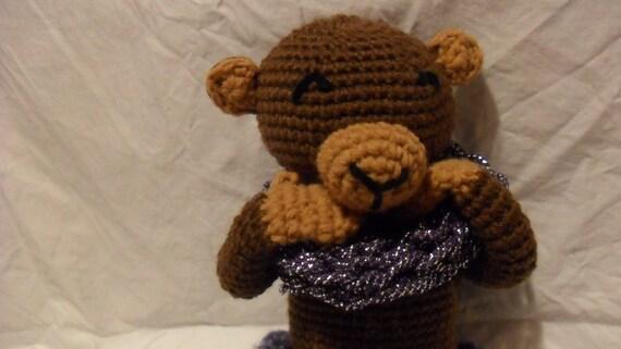 Brown Monkey Stuffed Animal, Girl Monkey Stuffed Toy, Crocheted Zoo Animal,Soft Monkey Toy, Girls Toy with Accessory - Bianca the Monkey
