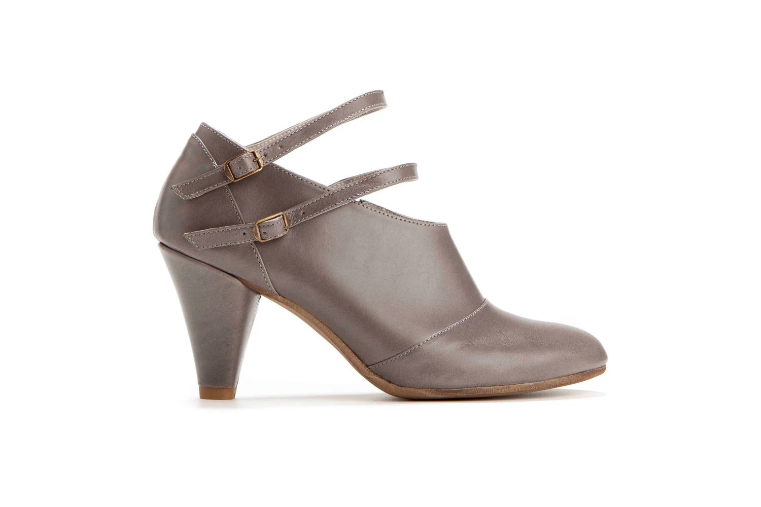 Elegant Heels // Winter Pumps // Clearance 50% Discount // Womens Gray High Heel Shoes with Ankle Straps - OliveThomasShoes