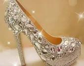 crystal wedding shoes custom wedding heels sparkly bidal shoes bling bridal heels women evening shoes party heels crystal high heels - Luxuryphonecase88
