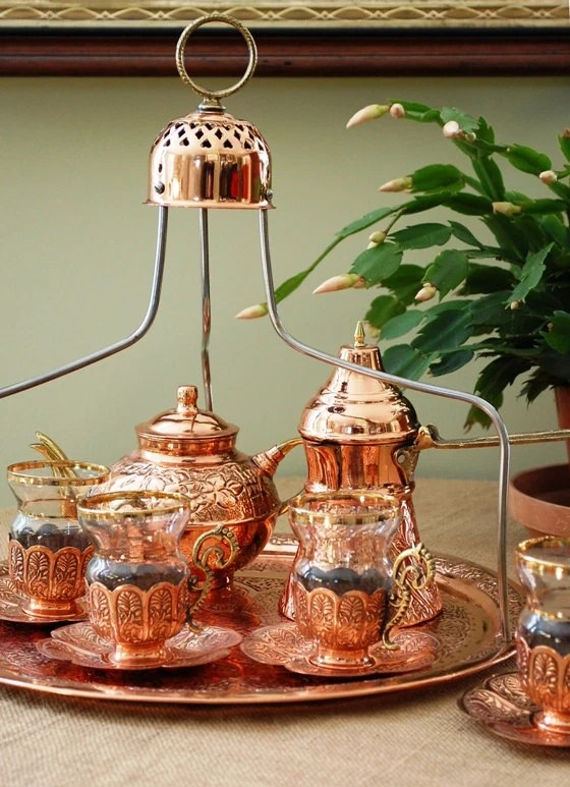 Turkish Coffee Set Vintage Coffee Service Brass Glass