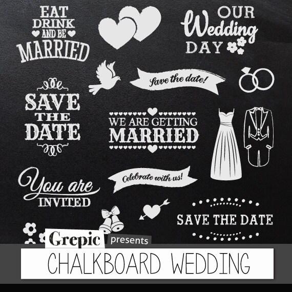 "Best Chalkboard clipart wedding: Digital clipart ""CHALKBOARD WEDDING  YY69"