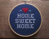do it yourself x-stitch pattern and materials kit (home sweet home) blue OR red background fabric - ChezSucreChez