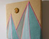 Teal Geometric Mountains Textile Wall Art by Tiny Marie OOAK - tinymarie