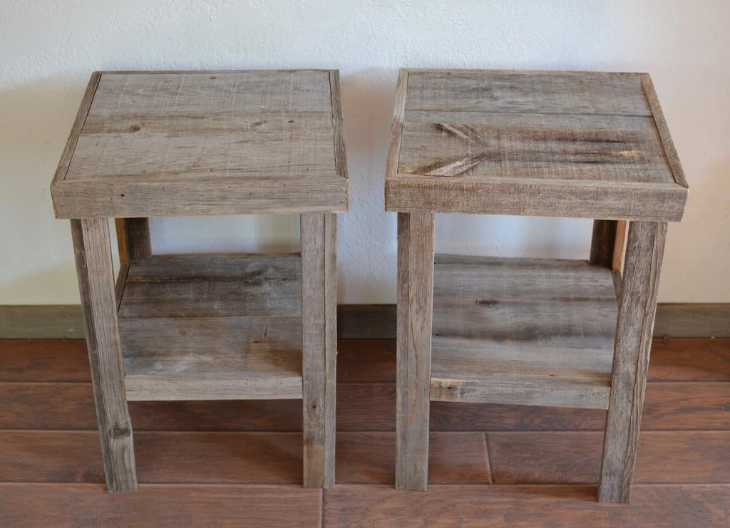 Reclaimed Barnwood Wood End Table Or Night Stand Pair