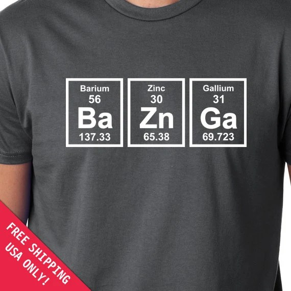 Baznga Periodic Table Mens Womens T Shirt Chemical Elements