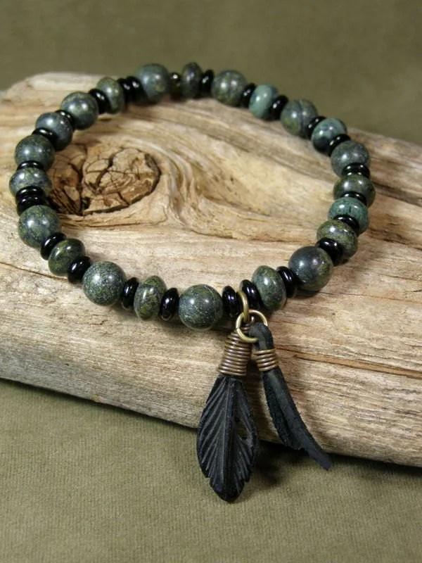 Bracelet For Men Mens Beaded Bracelet Green Stone Bracelet