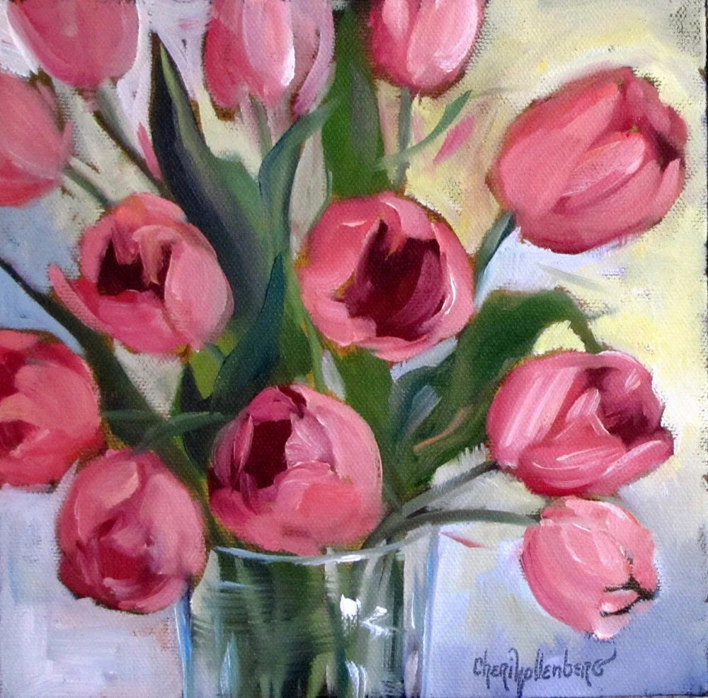 Oil Painting Pink Tulips Small 8x8 Canvas Original Painting By