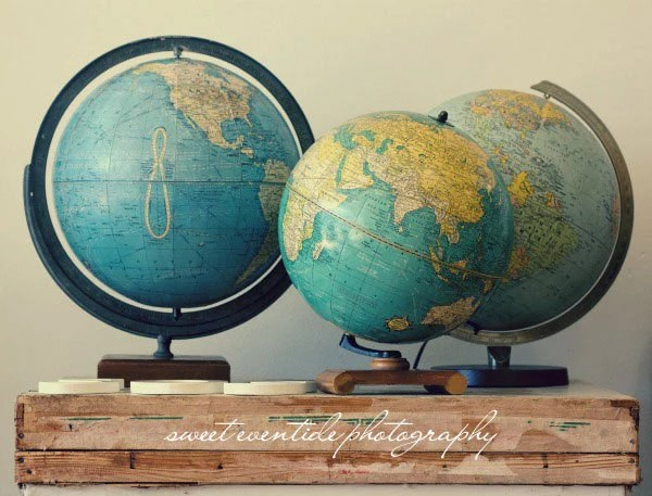 travel wanderlust vintage globes photograph fine art wall decor still life 8x12 print blue yellow - SweetEventide
