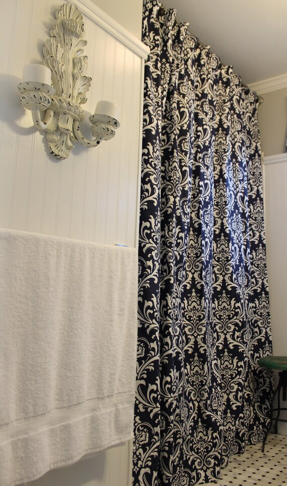 Navy And White Ozborne Shower Curtain By LaFortuneLinens On Etsy