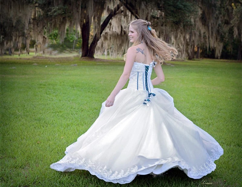 Corset Wedding Dress Custom Made With Organza And Lace