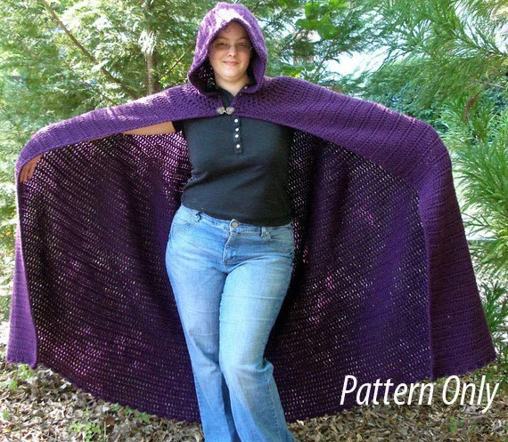 Crochet Full-length Cloak Pattern: PDF Pattern SCA, Faires, Goddess, LARP