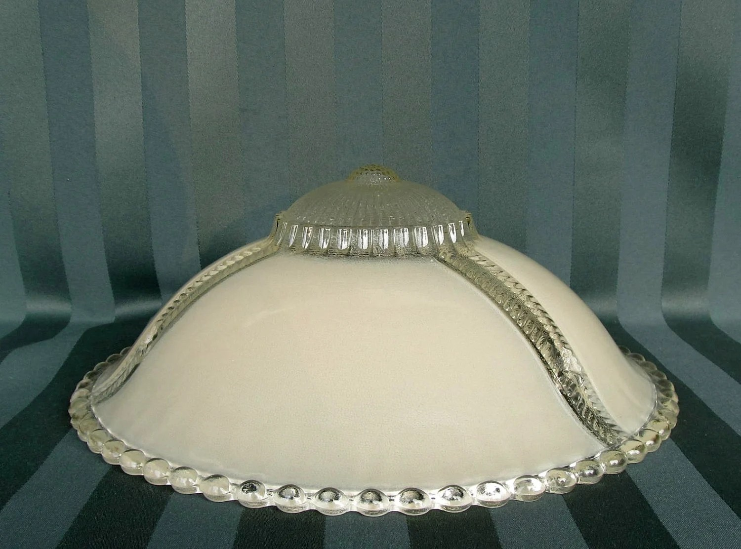 Vintage Glass Ceiling Light Shade Cover Beaded Rim By Catiques