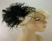 Rock On - Bridal Feather Fascinator, Bridal Fascinator, Fascinator, Bridal Headpiece, Hair Clip, Bridal Veil, Wedding Veil, Rhinestones