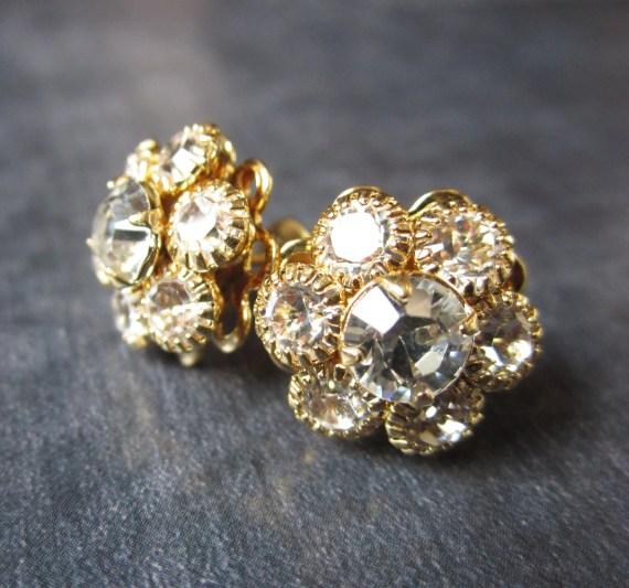 Gold Rhinestone Stud Earrings, Swarovski Crystal Rhinestone Studs, SprigJewelry
