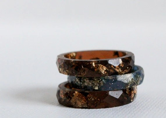 tiger eye size 7.5 multifaceted eco resin ring