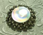 Vintage Holographic Brooch Pewter Signed Jewelarama Refective Disc - NancysJewelryBox