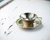 Vintage Home Decor - Decorative Metal Cup and Saucer - Original Vintage USSR Soviet Union - Unique Gift for Her - isantiik