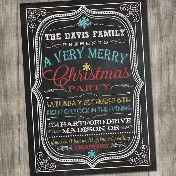 Vintage Retro Chalkboard Christmas Holiday PRINTABLE Party Invitation