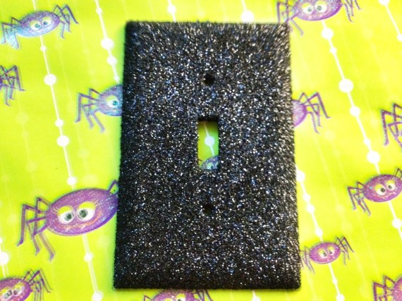 Black Glitter Light Switch Plate Cover - robotsnappingturtle