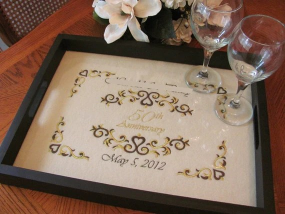 50th Anniversary Gift Personalized Serving Tray Golden Wedding