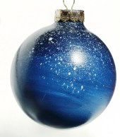 Hand painted Galaxy Starry Night Sky Glass Christmas Ornament OMBRE  dark blue Galaxy night sky with shooting stars - Sparklysharpfabulous