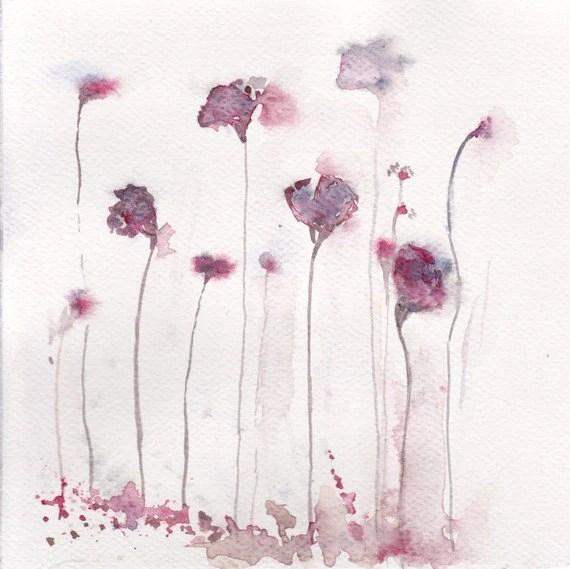 aguarela da flor original - mão pintura de flores arte feita decoração