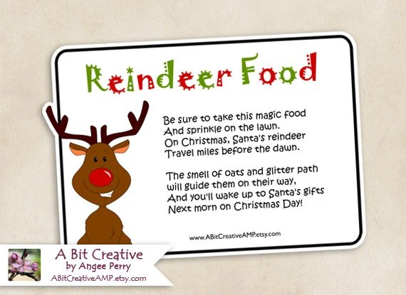 Reindeer Food for Rudolph & Friends Santa Christmas Design - DIY Printable - ABitCreativeAMP