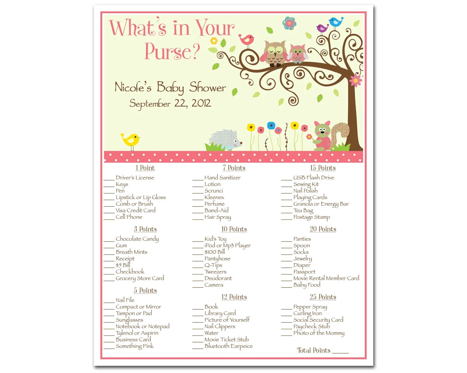 Printable Whimsey Owl Whimsical Girl Baby Shower By